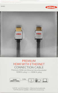 Kabel HDMI Ednet High Speed 2.0 z Eth. 3m czarny